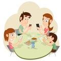 Phubbing Family Illustration