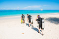 Phuket , 16 June 2017 ::diver walk to the sea for scuba diving Royalty Free Stock Photo