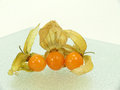 Physalis fine on glass plate background Stock Photography