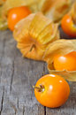 Physalis fruit on old wood Royalty Free Stock Images