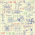 Physical formulas graphics and scientific calculations back to school science lab objects doodle vintage style sketches Royalty Free Stock Photo