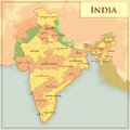 Physical Map of India with different state