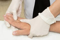 Physical therapist doing hand exercise Royalty Free Stock Photo