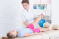 Physical therapy with child Royalty Free Stock Photo