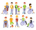 Physically Handicapped People Living Full Happy Life With Disability Set Of Illustrations With Smiling Disabled Men And