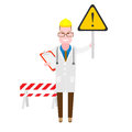 Physician with warning sign illustration of a doctor on a white background Stock Images