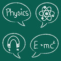 Physics chalky bubbles illustration of with physical symbols and formulas Stock Images