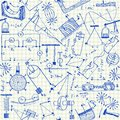 Physics doodles seamless pattern on school squared paper Stock Photography