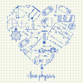 Physics drawings in heart shape illustration of doodles Royalty Free Stock Photography