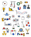 Physics icon hand drawn multicolored vector illustration Stock Photography