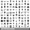 100 physics icons set, simple style