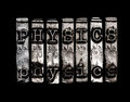 Physics word on black background Stock Image