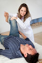 Physiotherapist with a man Stock Image