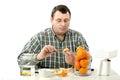 Phytocontrol expert measuring mandarine slice Royalty Free Stock Photo