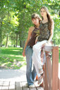 Piękne miasto parku dwóch dziewczyn Zdjęcie Stock
