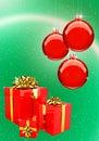 Piłek pudełek bożych narodzeń prezenta czerwieni set Fotografia Royalty Free