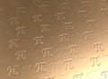 Pi symbol golden background Royalty Free Stock Photo