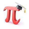 Pi symbol with graduation cap red over white background Royalty Free Stock Photography