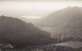 Piani d erna view a beautiful of lecco from part of the alps near lake como in italy processed in sepia Stock Images