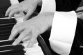Pianist hands on keyboard in black and white Royalty Free Stock Images
