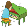 Pianist illustration of a playing music Stock Images