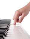 Pianist s hand playing the piano isolated on white Royalty Free Stock Image