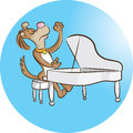 Pianist vector illustration of dog playing piano Stock Photos