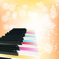 Piano background with notes on orange Royalty Free Stock Photos