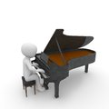 Piano a character plays a beautiful melody on a Royalty Free Stock Images