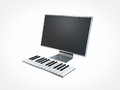 Piano computer on white background