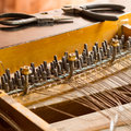 Piano disassemble old inside wire Stock Image
