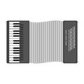 Piano keyboard accordion harmonica musical instrument vector illustration.