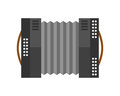 Piano keyboard accordion harmonica musical instrument vector illustration and acoustic antique classical melody