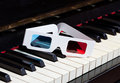 Piano keyboard with d glasses three dimensional music concept and Stock Image