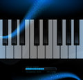 Piano keyboard on a dark blue star background Stock Photography