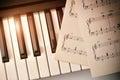 Piano keyboard with golden shine and sheet music top diagonal Royalty Free Stock Photo