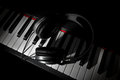 Piano keyboard with headphones digital closeup view Royalty Free Stock Image