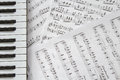 Piano keyboard on music-notes background Royalty Free Stock Photo