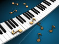 Piano keyboard and notes d illustration of golden over dark background Royalty Free Stock Photos