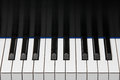 Piano keyboard octave section of showing one plus two extra keys on each end key reflection in backboard copy space in upper half Stock Images