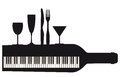 Piano keyboard and party black white silhouette of utensils a bottle with a drinking glasses Royalty Free Stock Photos