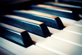 Piano keyboard selective focus on black key in the middle Royalty Free Stock Photos