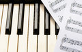 Piano keyboard and sheetmusic Royalty Free Stock Photo
