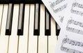 Piano keyboard and sheetmusic Royalty Free Stock Photo