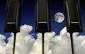 Piano keys and night sky