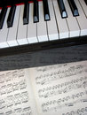 Piano keys with notes, musical background. Stock Photography
