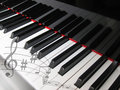 Piano keys with notes of, musical background. Royalty Free Stock Images