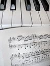 Piano keys with notes musical background photo Stock Photos