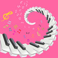 Piano keys and notes vector illustration Stock Photography
