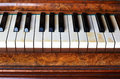 Piano keys of an old piano german Stock Photo